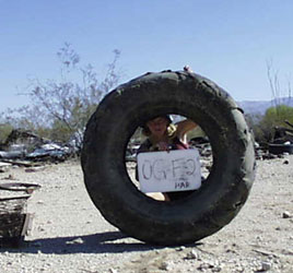 Girl with tire photo